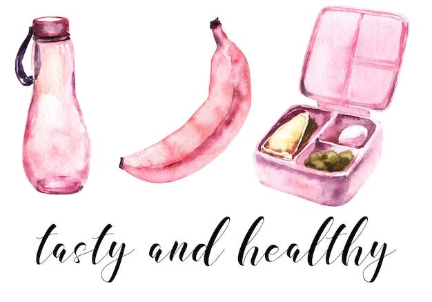 School girls pink supplies watercolor set. school meal
