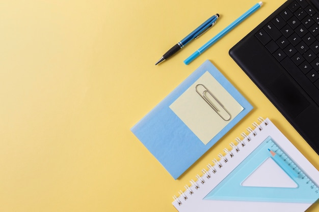 School items arrangement with copy space