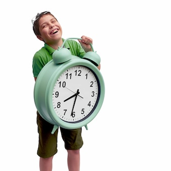 School kid with giant clock, time to go to school