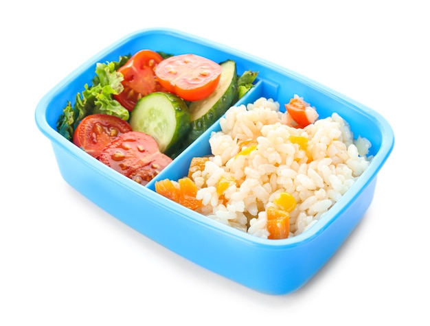 School lunch box with tasty food on white