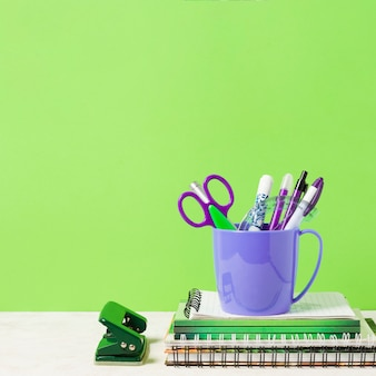School materials with green background
