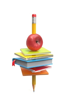 School notebooks and an apple on the pencil isolated on white