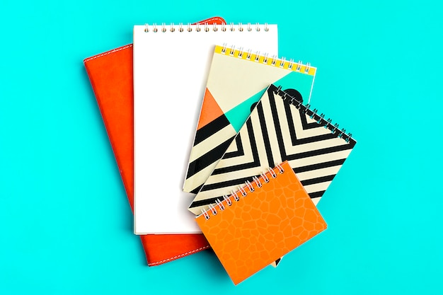 School and office supplies concept back to school flat lay top view