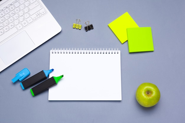 School and office supplies over office table