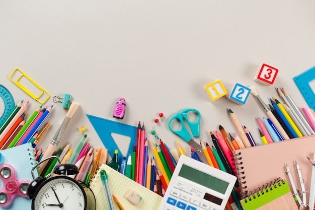 School and office supplies. top view.