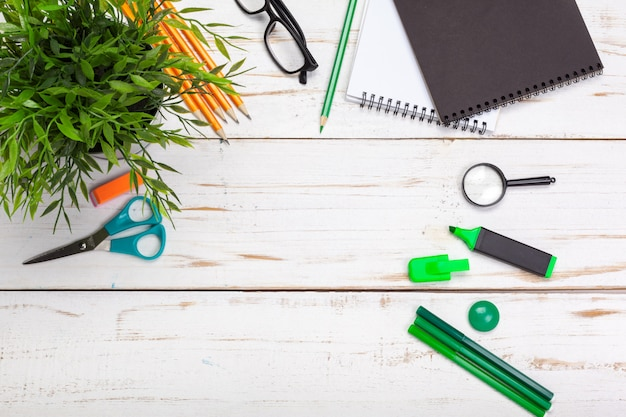 School and office supplies on white surface