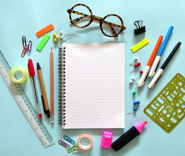 School office supplies with copy space.