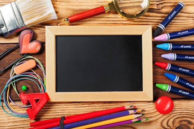 School office supplies on wooden