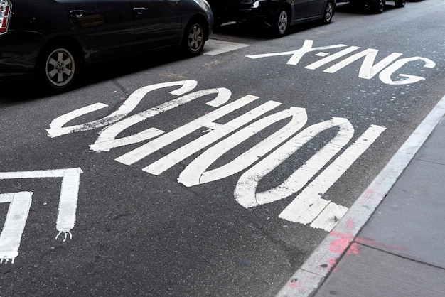 School road sign top view
