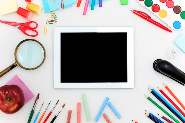 School set with notebooks on white background