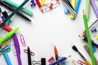 School Stationary Copy Space Top View