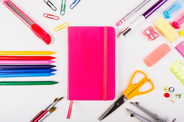 School stationery around notepad