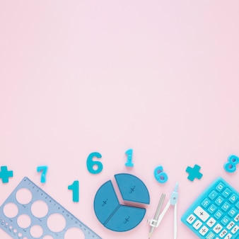 School stationery blue items copy space background