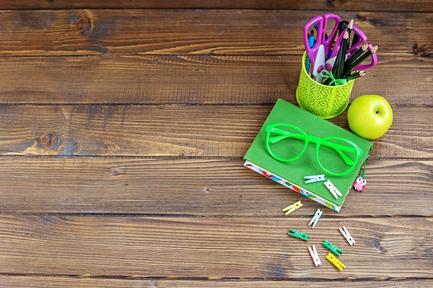 School stationery for children. background. top view.