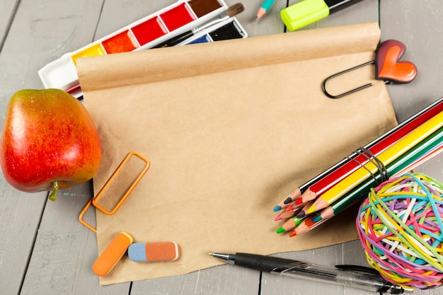 School stationery close-up