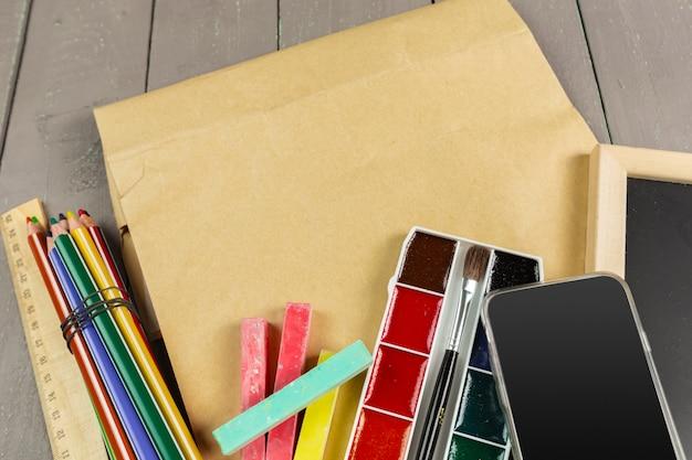 School stationery close-up