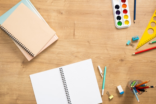 School stationery. flat lay, top view. back to school concept.