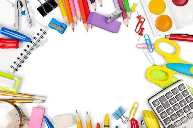 学校とオフィスのための学校の文房具のフレーミング