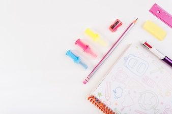 School stationery on right side