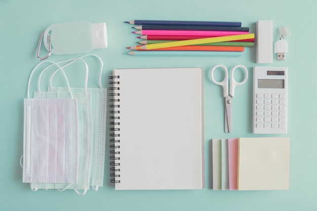 School stationery supplies, medical masks and hand gel sanitizer, school reopening