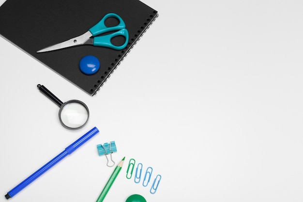 School stationery on a white, back to school surface