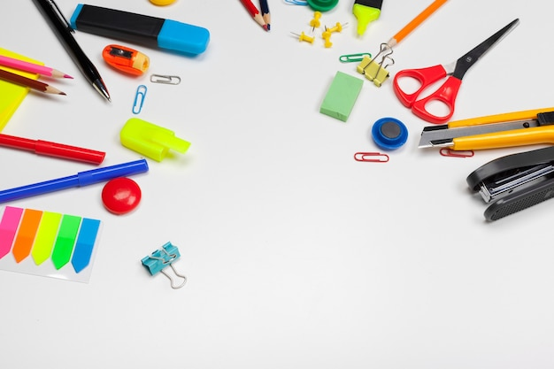 School stationery on a white, back to school