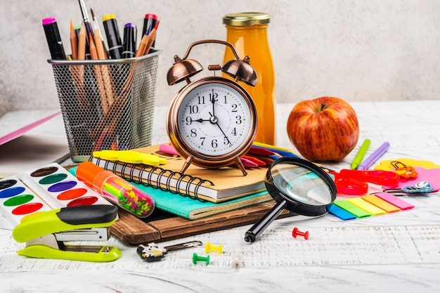 School stationery on white surface