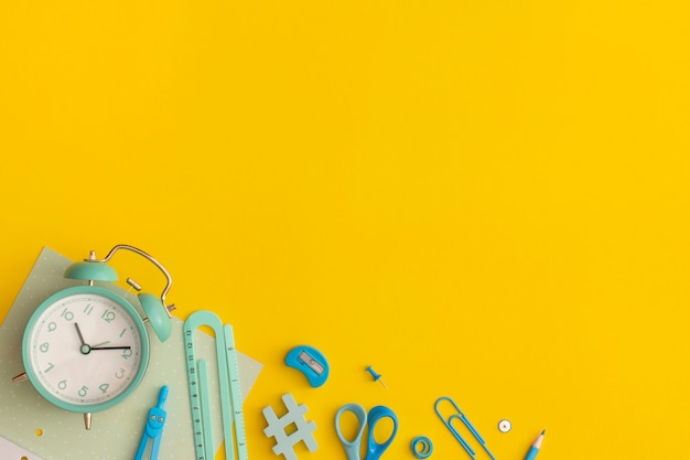 School stationery on a yellow background
