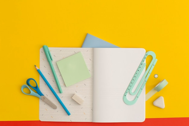 School stationery on a yellow backgroundh