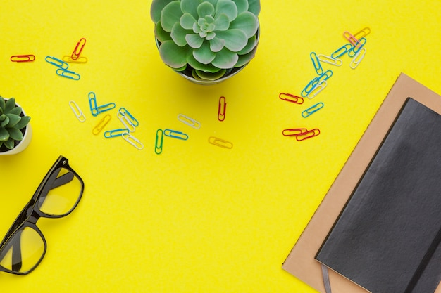 School stationery on a yellow table, . creative, educational colorful template