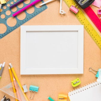 School supplies around frame