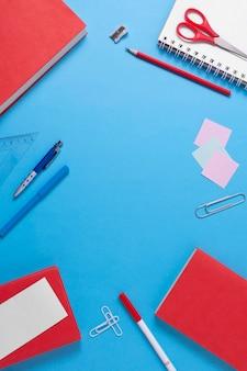 School supplies arrangement top view