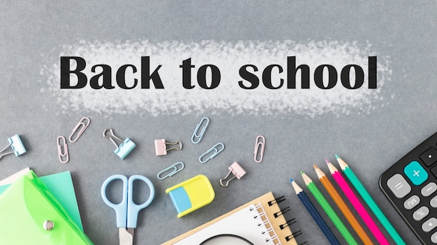 School supplies and back to school text