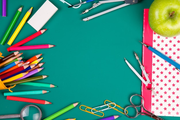 School supplies for the beginning of classes. back to school concept. top view