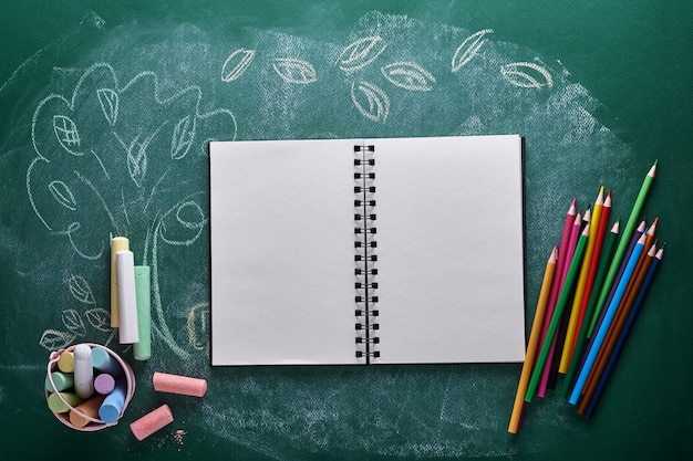 School supplies and black table lamp on green board. concept back to school. mock up for design. copy space. education concept.