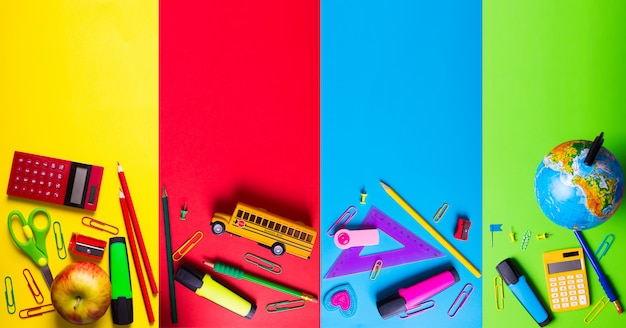 School supplies on bright saturated background