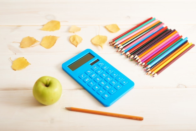 School supplies on the desk, back to school