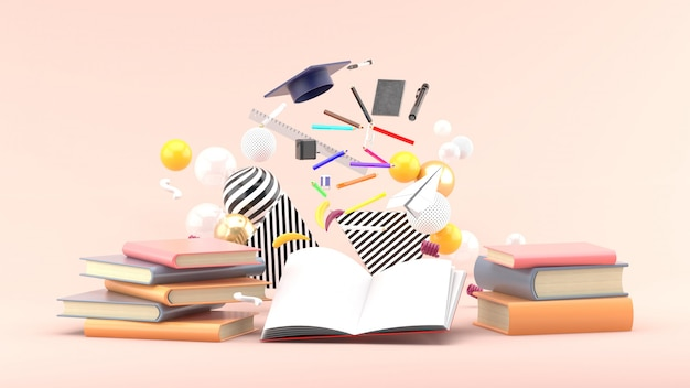 School supplies floating out of a book amidst colorful balls on soft pink. 3d render
