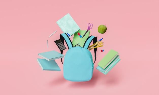 Школьные принадлежности, плавающие с синим рюкзаком и красным пастельным фоном
