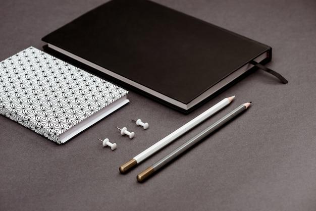 School supplies on grey table