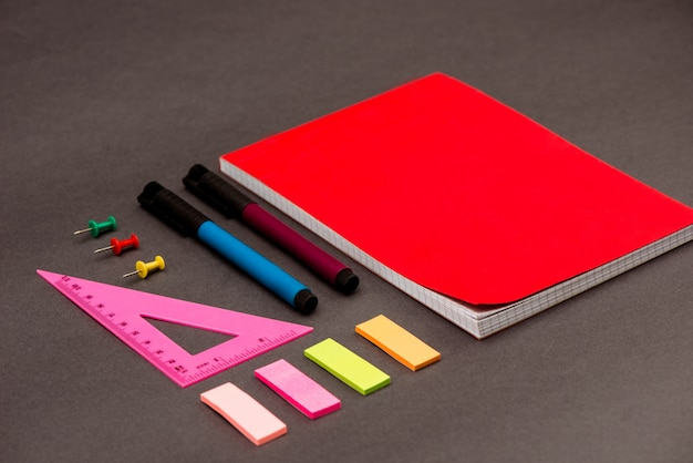 School supplies on grey table