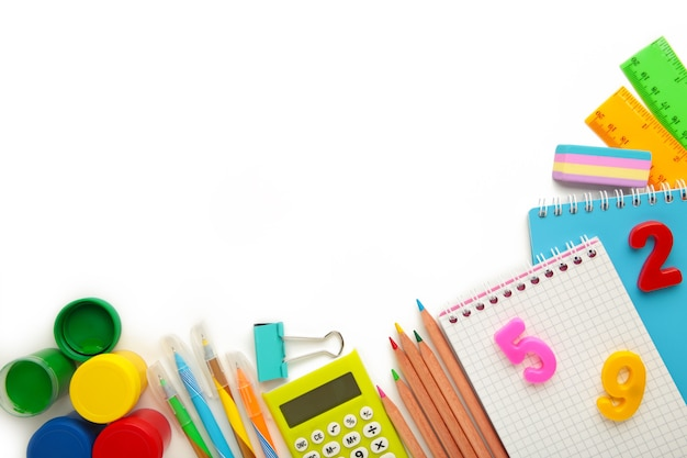 School supplies isolated on white background. back to school concept. top view.