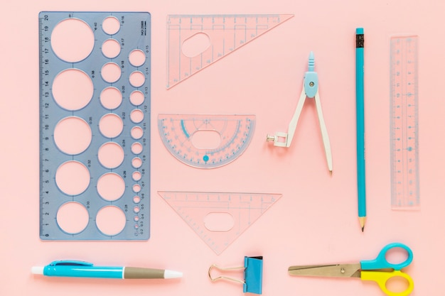 School supplies laid in order