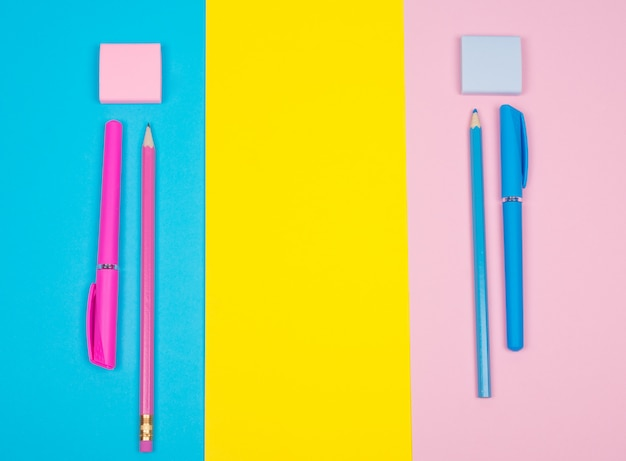 School supplies on a multicolored paper
