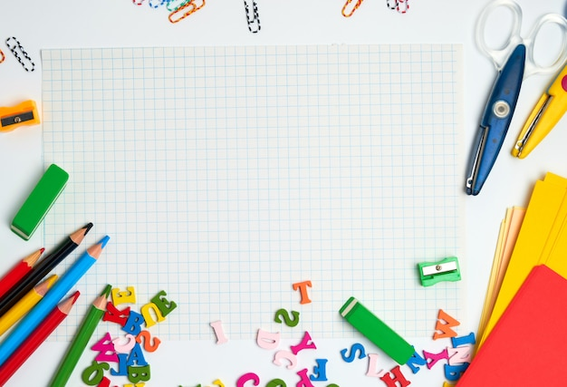 School supplies: multicolored wooden pencils