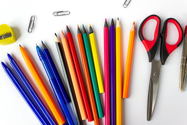 School supplies on a white background. education concept.