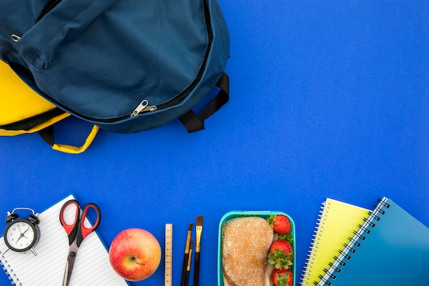 School supplies with bag and lunchbox