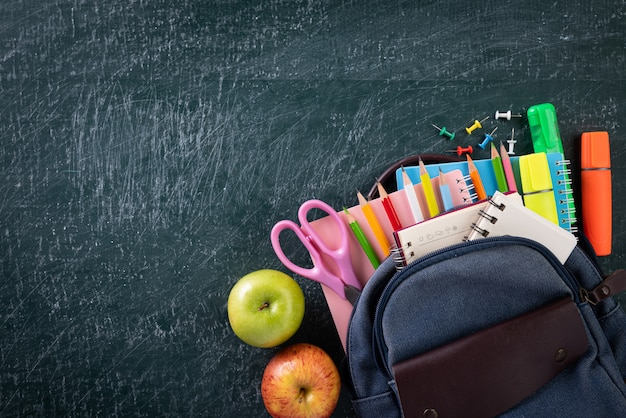 School supplies with chalkboard