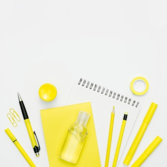 School supplies with white background