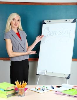 School teacher near whiteboard on blackboard